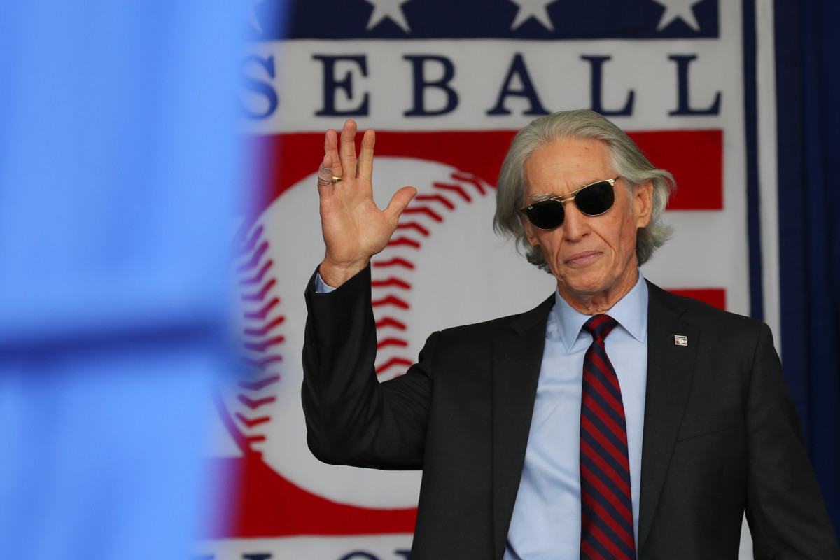 Ted Simmons at his Baseball Hall of Fame induction ceremony.