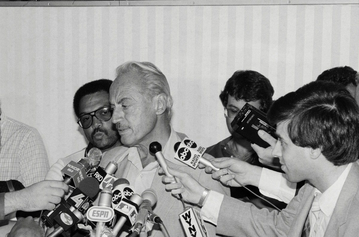 Marvin Miller, the executive director of the Major League Baseball Players Association, talks with reporters in 1981.
