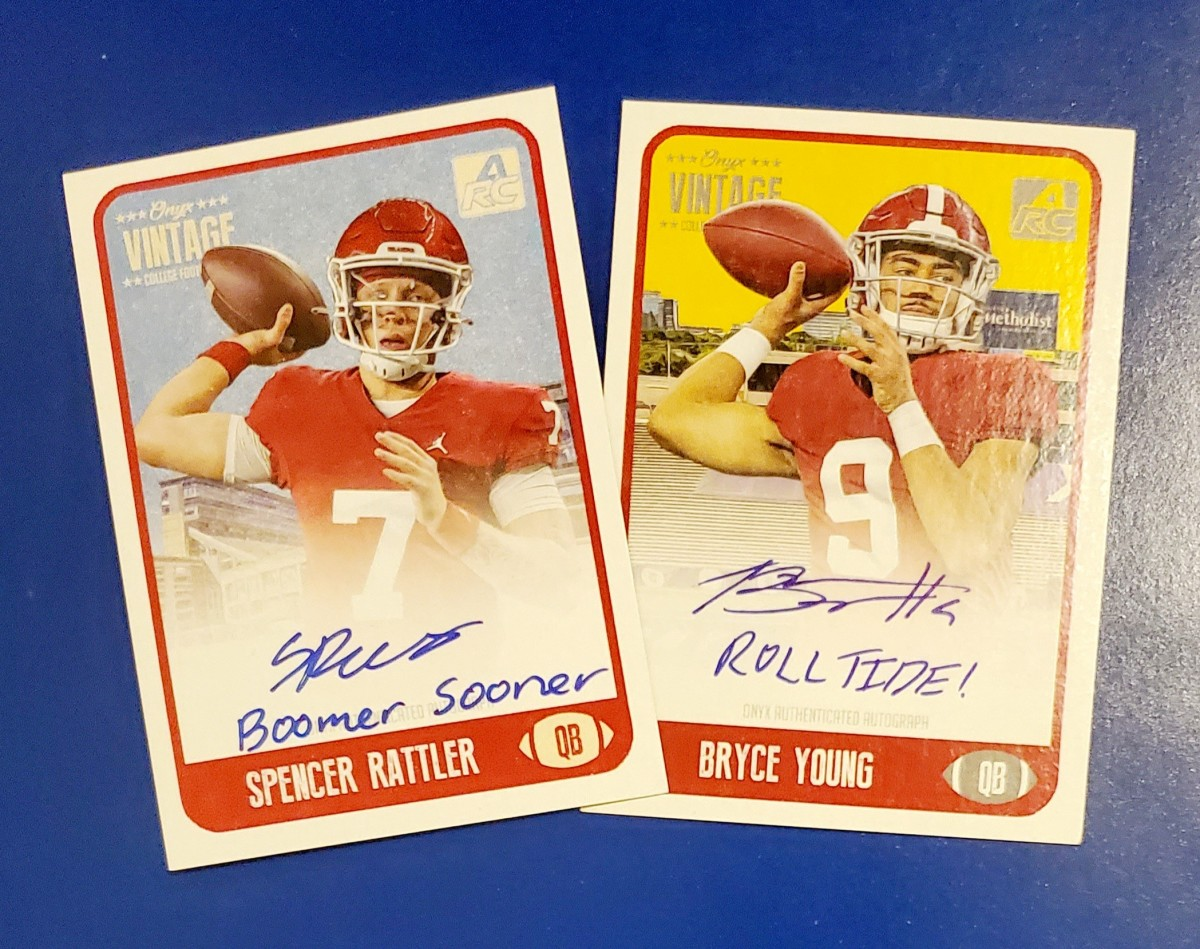 Onyx cards of college stars Spencer Rattler and Bryce Young.