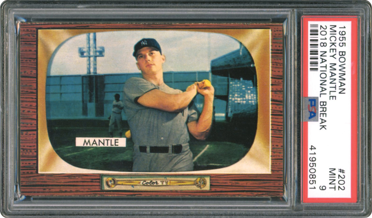 A 1955 Bowman Mickey Mantle card from a pack break at the 2018 The National.