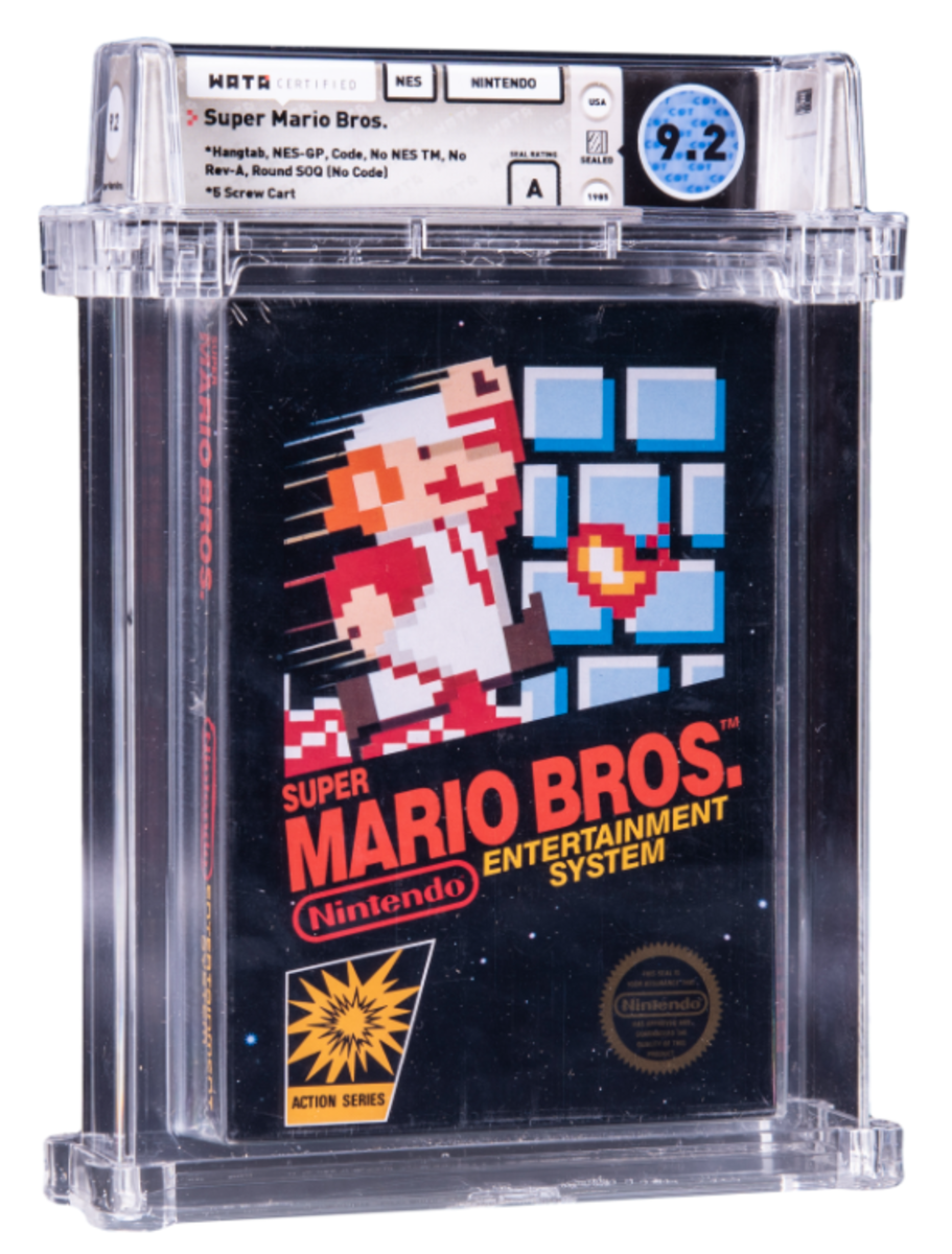 A 1985 Super Mario Bros. video game being auctioned by Goldin Auctions.